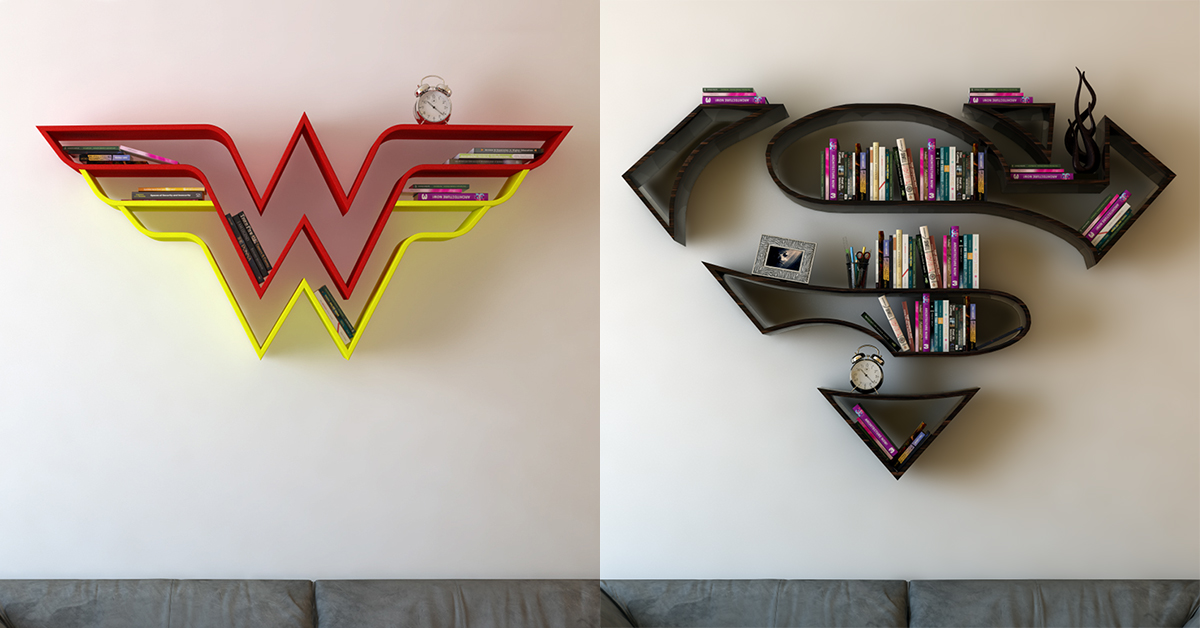 These Wonder Woman Superman Bookshelves Are Perfect For Displaying Your Collection