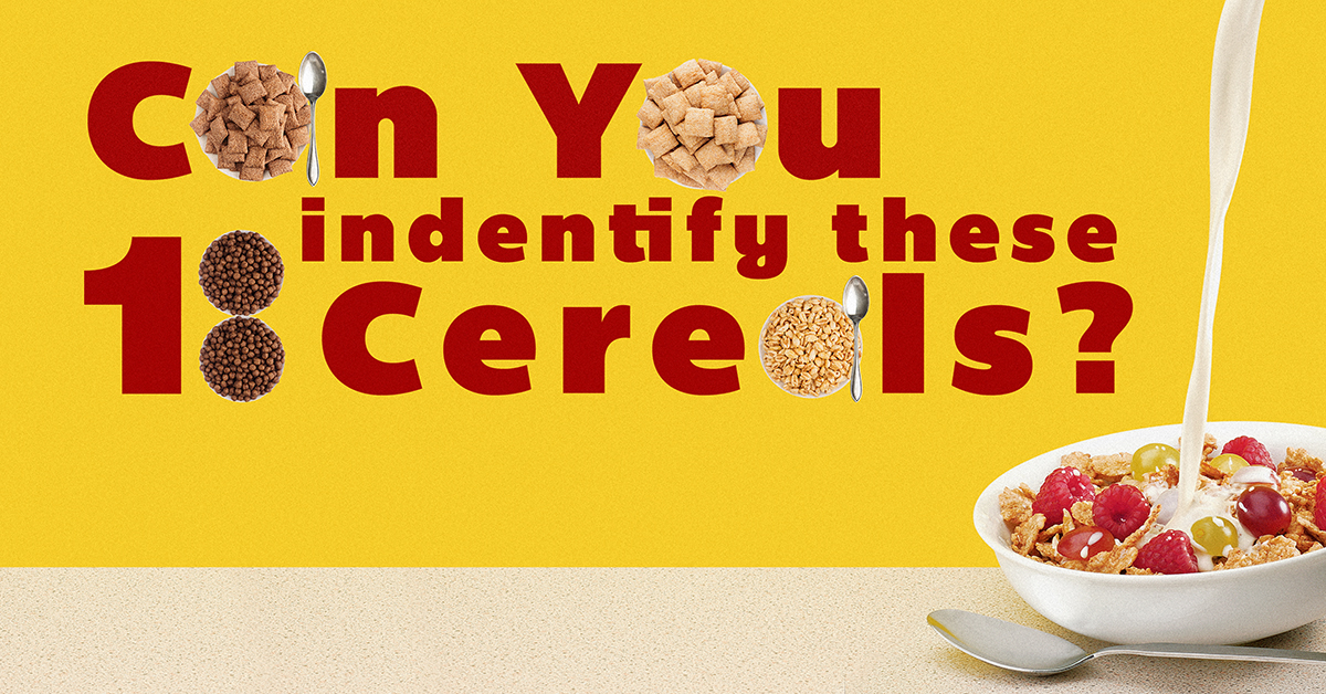 Can you identify these 18 breakfast cereals?