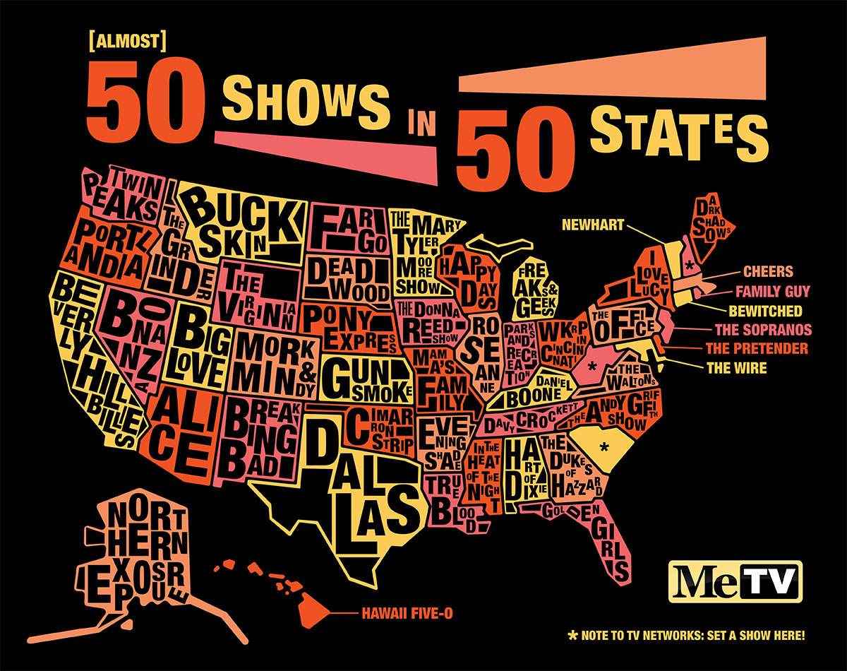 Infographic One Iconic TV Show For Almost Every American State - Show the us map