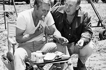 Mcqueen Seen Here Eating On Set With Director Don Mcdougall Did Not Hide His Glee When The Series Was Canceled Eliot Writes That Steve Celebrated