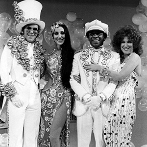 Elton John performs a medleywith Cher, Flip Wilson and Bette Midler, and  everybody\u0027s trying to outdazzle each other, not just with the vocals.