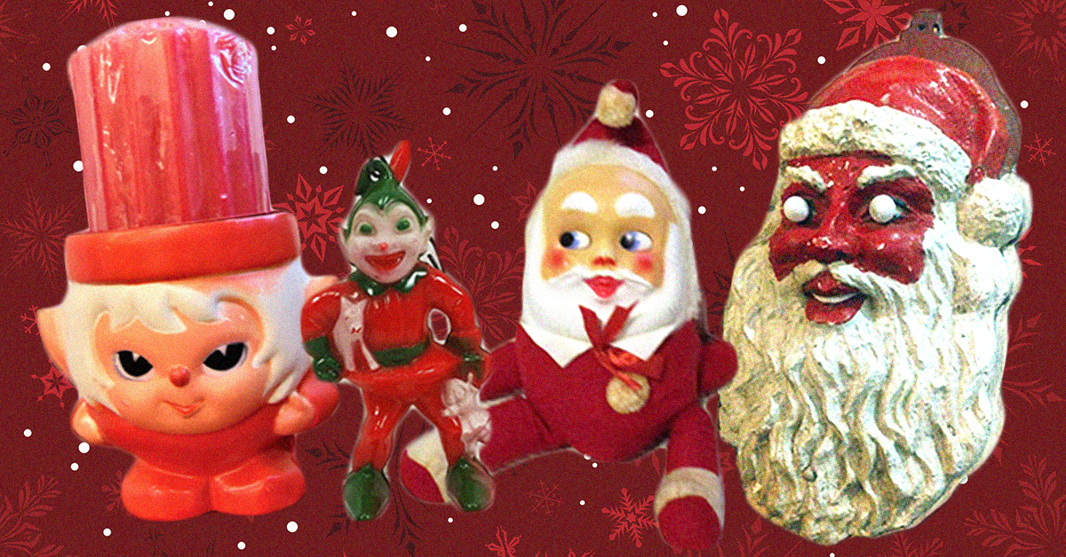 these vintage christmas decorations are more terrifying than halloween