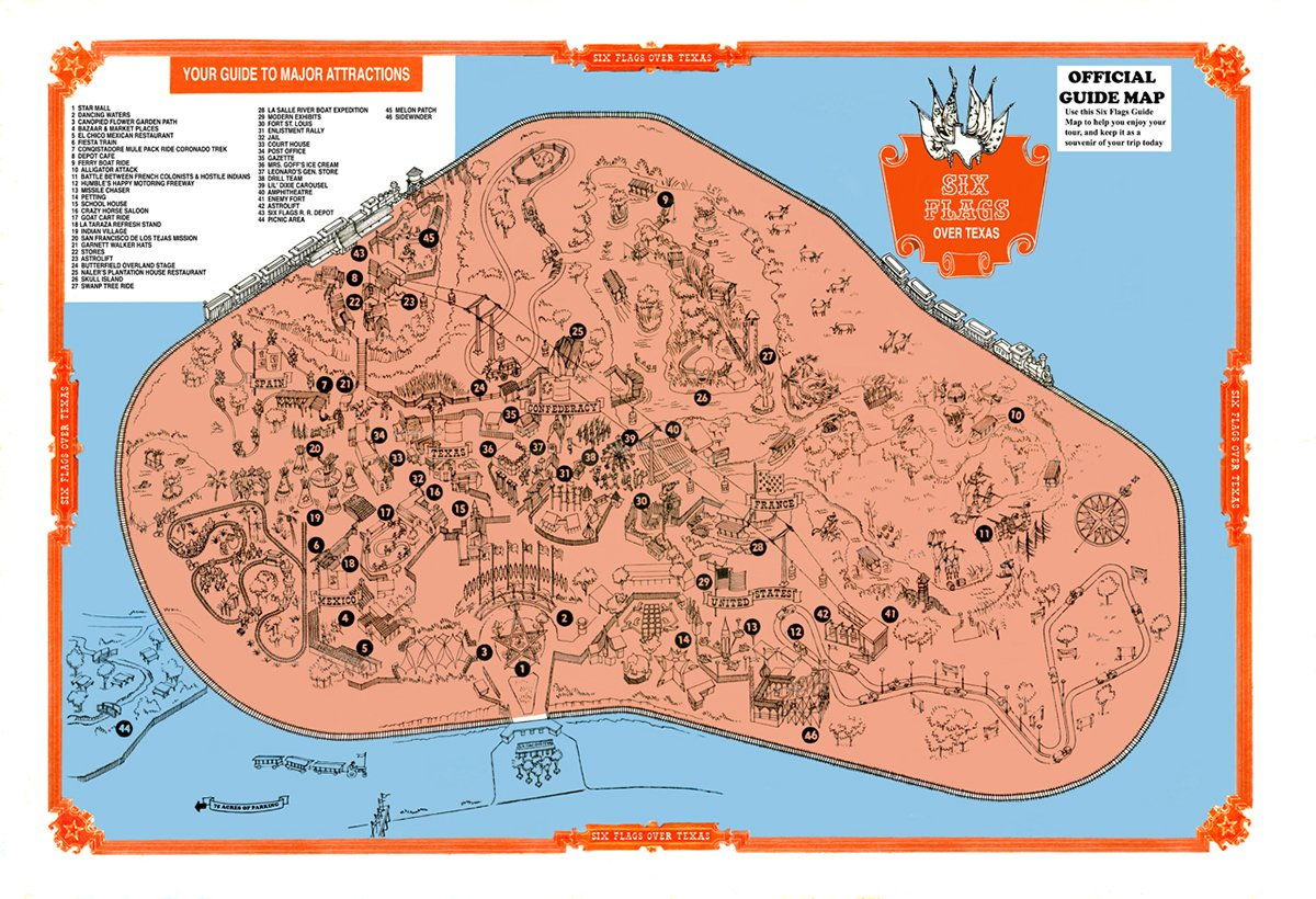 These Old School Theme Park Maps Helped You Find All The Fun In The