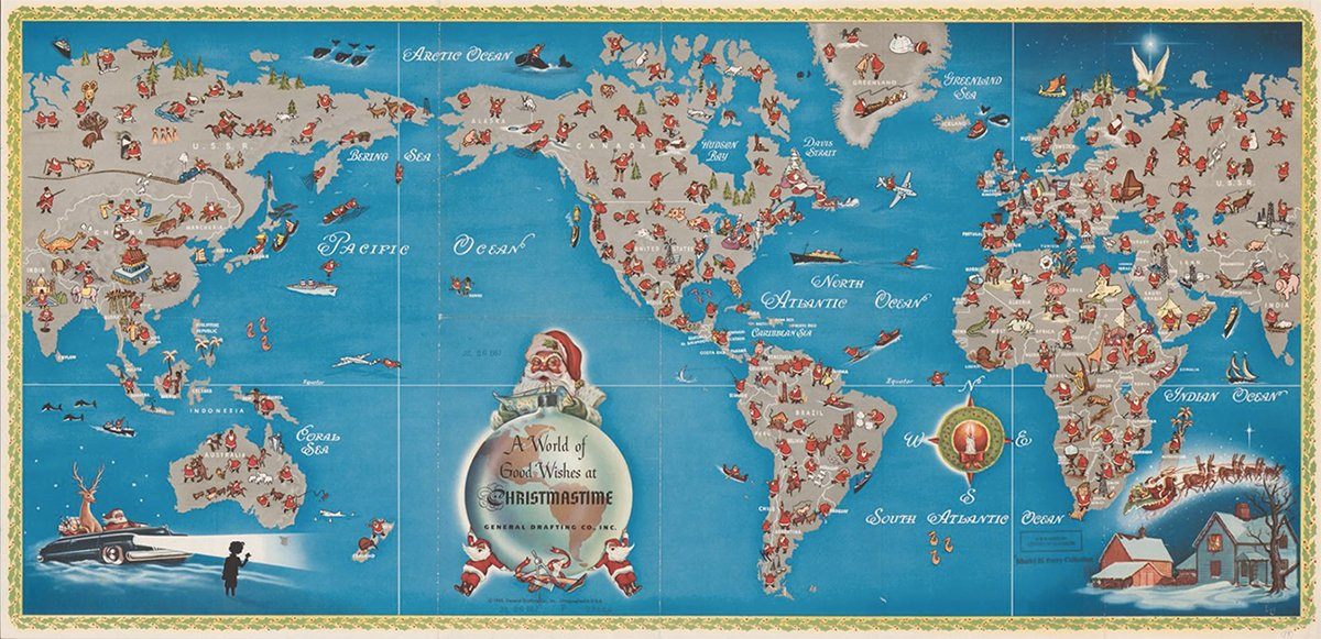 Track Santa's adventures around the world with this detailed